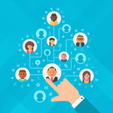 Building Social Media Audience. Concept of building audience of followers. Human hand forming a tree of audience for social media marketing strategy, online Stock Images