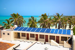 Building with a solar panel Stock Photos