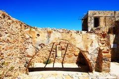The building on Spinalonga Island. Crete, Greece Royalty Free Stock Photo