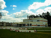 The building of sports complex in the Russian city of Yukhnov in Kaluga region. Stock Image