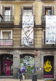Building squatted known as Patio Maravillas located on the street Pez in Madrid. Stock Photography