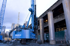 Building the SR 99 tunnel. Seattle is building a tunnel through the city to replace the Alaskan way. It is a century project for the city. Workers are using a stock image