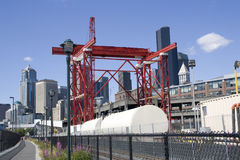 Building the SR 99 tunnel construction site stock images