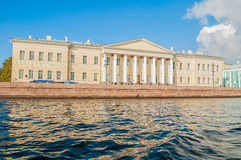 The building of the St Petersburg Academy of Sciences on Vasilevsky Island at University quay in St Petersburg, Russia Royalty Free Stock Photography