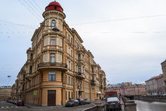Building in St. Petersburg. Beautiful house in St. Petersburg. The canal house. Unusual old house with beautiful architecture Royalty Free Stock Photos