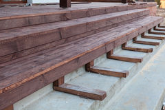 Building a stairs to wooden terrace. Stock Photo