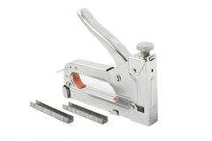 Building stapler and clips on white. Background Stock Photography