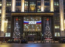 The building of the State Duma of the Russian Federation in festive registration in the evening, Moscow. Russia stock image