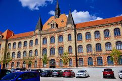 The building of the state engineering high school Fajnorovo nábrežie, Bratislava, Slovakia. The building of the state engineering high school locally royalty free stock images