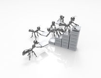 Building statistics growth. 3d cartoon ants-building statistics growth Royalty Free Stock Photos