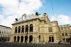 Building with statues on top in Vienna Royalty Free Stock Photo