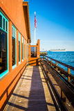 Building at Stearn's Wharf and the Pacific Ocean in Santa Barbar Stock Photography