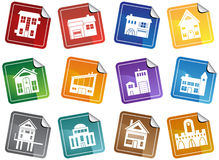 Building Sticker Buttons Stock Photography