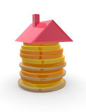 Building stock. Red roof on top of piled up coins. Concept of mortgage and savings Stock Photos