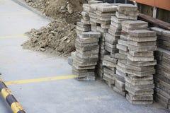 Building stones at parking Stock Photos