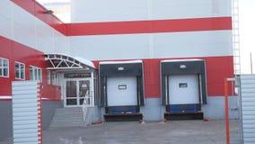 Building store supermarket door for loading goods, garage. Building store supermarket door for loading a goods, garage stock footage