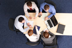Building strategy - business people meeting. Building strategy - five business people meeting stock photography