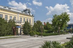 Building and street at the center of town of Silistra, Bulgaria stock photography