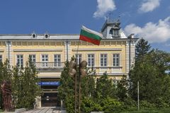 Building and street at the center of town of Silistra, Bulgaria stock image