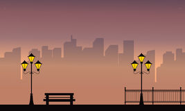 Building with street lamp scenery at night. Vector illustration stock illustration