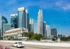 Building and street view in the Downtown Core of Central Area, Singapore.  Royalty Free Stock Image