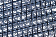 Building structure. Diagonal lines at glass and metal building structure Royalty Free Stock Image