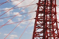 Building structures of the bridge in Moscow, Russia stock photography