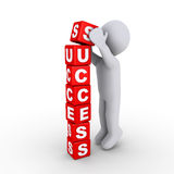Building the success blocks. 3d person putting the last block of success letters Stock Images