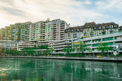 Building at sunset in central Geneva, Switzerland Stock Images