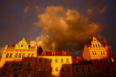 Building in sunset,Ceske Budejovice,2011 stock image