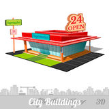 Building of supermarket on white Royalty Free Stock Photo