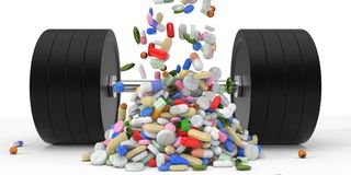 Body building supplements and dumbell. 3d illustration. Stock Photography