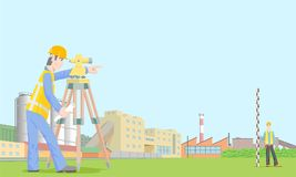 Building Surveyor. Two engineers work in the background of an industrial landscape. Geodetic marking, peg on the ground. All objects in separate layers Royalty Free Stock Photography