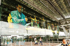 The building of Suvarnabhumi Bangkok International Airport and tourists Stock Images