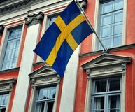 Building with swedish flag Stock Photography
