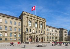 Building of the Swiss Federal Institute of Technology in Zurich. Zurich, Switzerland - 12 April, 2015: facade of the main building of the Swiss Federal Institute royalty free stock photos