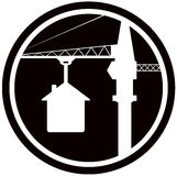 Building symbol with home and construction crane Royalty Free Stock Images