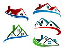 Building symbols with home roofs Royalty Free Stock Image