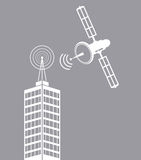 Building telecommunication satellite mast tv Stock Images