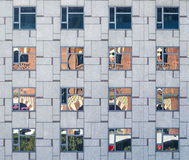 Building texture. With reflection of arena`s building Royalty Free Stock Photography