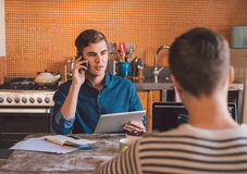 Building their small business as a couple stock photo