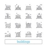 Building thin line icons. Public, government, education and personal houses. Modern linear vector design elements. Building thin line icons. Public, government royalty free illustration