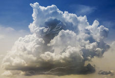 A Building Thundercloud with Lightning Strikes Within Stock Photography