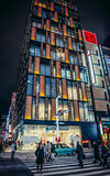 Building in Tokyo. Tokyo, Japan - February 27, 2015. People passes pedestrian crossing in front of Shiseido Gallery building in Ginza district Royalty Free Stock Photo