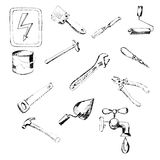 Building tool. Icons, hand-drawn pencil sketch. Vector image. Design element, interface. Stock Images