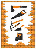 Building tools. In a brick frame Royalty Free Stock Images