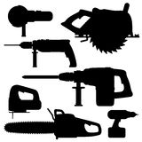 Building tools electric. Electric Tools isolated icons on white background. Set. illustration Royalty Free Stock Photo