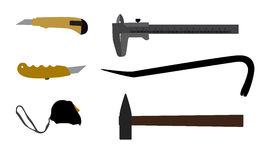 Building tools hammer, screwdriver, tape measure. Stock Image