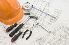 Building tools on the house plan Stock Images