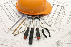 Building tools on the house project Stock Photography